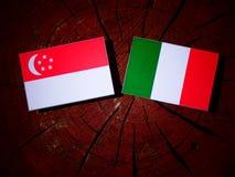 Singaporean flag with Italian flag on a tree stump isolated Royalty Free Stock Image