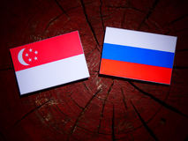 Singaporean flag with Russian flag on a tree stump. Singaporean flag with Russian flag on a tree stump Stock Image