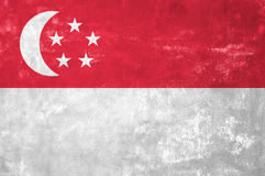 Singaporean Flag. Singapore - Singaporean Flag on Old Grunge Texture Background Stock Images
