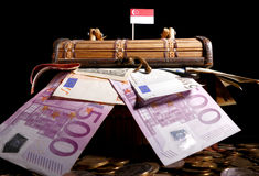 Singaporean flag on top of crate. Full of money Royalty Free Stock Photo