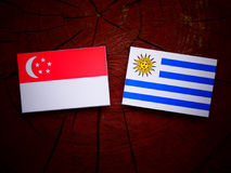 Singaporean flag with Uruguaian flag on a tree stump isolated Stock Photo