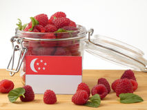 Singaporean flag on a wooden panel with raspberries isolated on. A white background Stock Photography
