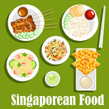 Singaporean national cuisine flat icon. Singaporean national cuisine icon with roti prata bread with tartar sauce, grilled beef satay, served with peanut sauce Royalty Free Stock Image