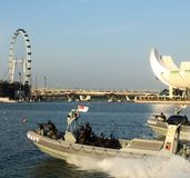 Singaporean Navy Speed boats. Speed boat patrolling on Singaporean seas in preparation for National Day Stock Images