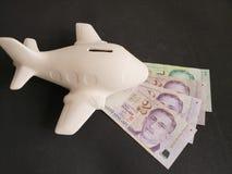 singaporean sedlar och vitt keramiskt flygplan för loppbesparingar royaltyfri fotografi
