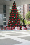 Singaporean X-mas tree at shopping mall Royalty Free Stock Image