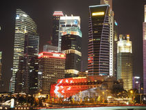 Singapores Financial District night scene (SG50) Royalty Free Stock Image