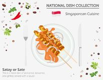 Singaporiansk kokkonst Asiatisk nationell maträttsamling Satay isolerade på vitt, infograpic vektor illustrationer