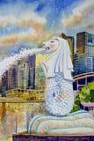 Singapour à la marina, statue de merlion illustration stock