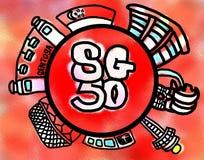 Singapour 50 ans de célébration de construction de la nation Image libre de droits