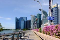 Singapour 13 AVRIL 2019 : District des affaires central de Singapour, la ville située entre la rivière de Singapour et Marina Bay photographie stock