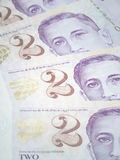 Singapour billets de deux dollars Photo stock
