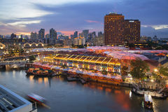 Singapour Clarke Quay After Sunset Photos libres de droits