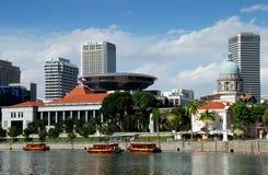 Singapour : Court suprême de Singapour et zone coloniale Photographie stock