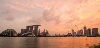 Singapour dans le coucher du soleil Photographie stock