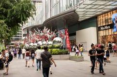 Singapour janvier 2016, décoration de Noël sur la route de verger dans S Photo libre de droits