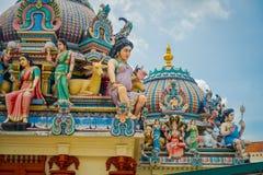 SINGAPOUR, SINGAPOUR - 30 JANVIER 2018 : Plan rapproché de temple hindou de Sri Mariamman à Singapour Image libre de droits