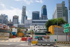 Singapour - 2 mai 2016 : Paysage urbain de Singapour avec le site en construction sur Maxwell Rd, Singapour Photos stock