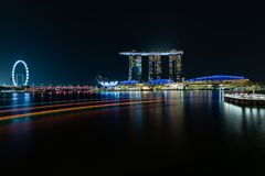 Singapour Marina Bay Sands la nuit photos libres de droits