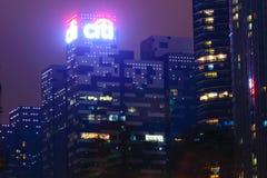 Singapour - 13 octobre 2018 District des affaires des gratte-ciel à la nuit photo stock