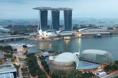 Singapour par la soirée Photographie stock libre de droits