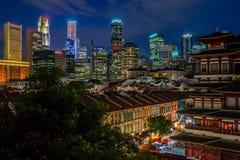 Singapour par nuit Photo libre de droits