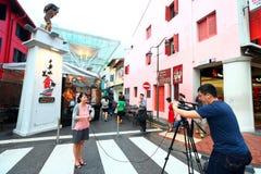 Singapour : Rue de nourriture de Chinatown Photo libre de droits