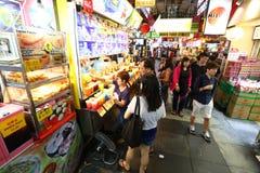 Singapour : Rue de nourriture de Chinatown Image libre de droits