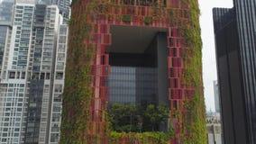 Singapour - 25 septembre 2018 : Vue d'oeil d'oiseau de district des affaires central de Singapour et d'hôtel peu commun de façade image libre de droits
