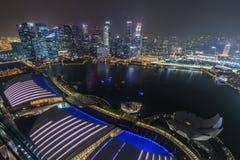 SINGAPOUR, SINGAPOUR - VERS EN SEPTEMBRE 2015 : Panorama de Marina Bay de secteur financier du centre de Singapour de l'observato Image libre de droits