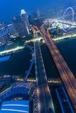 SINGAPOUR, SINGAPOUR - VERS EN SEPTEMBRE 2015 : Panorama de Marina Bay de Singapour de l'observatoire sur le dessus de Marina Bay Image libre de droits