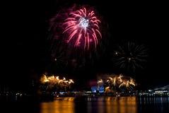 2016-07-02 Singapur święta państwowego fajerwerków pokazu próba Obrazy Royalty Free