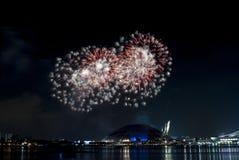 2016-07-02 Singapur święta państwowego fajerwerków pokazu próba Zdjęcia Royalty Free