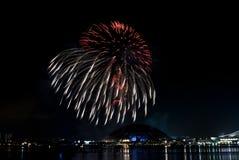 2016-07-02 Singapur święta państwowego fajerwerków pokazu próba Obraz Royalty Free