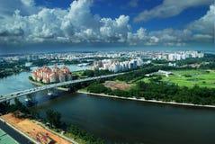 Singapur-Antennen-Skyline Lizenzfreies Stockbild