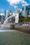 SINGAPUR 15. August 2016 der Merlions-Brunnen in Singapur stockfotos