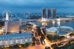 Singapur bis zum Nacht Stockfotografie
