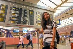 Singapur Changi Lotniskowego Terminal 2 odjazdu sala Obrazy Royalty Free