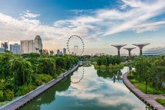 SINGAPUR, CZERWIEC - 19: Singapur ulotka - Wielki Ferris koło ja fotografia royalty free