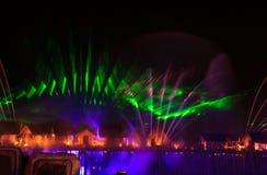 Demostración del laser en Sentosa, Singapur Foto de archivo libre de regalías