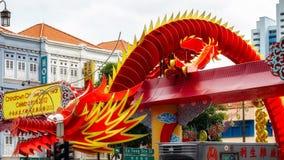 SINGAPUR - 3 DE FEBRERO: Dragon modelo chino para celebrar la N Fotos de archivo