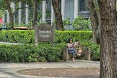 Singapur - 10 de junio de 2018: Hong Lim Park con la esquina 7 de los Presidentes fotos de archivo libres de regalías