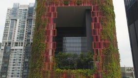 Singapur - 25 de septiembre de 2018: Opinión del ojo de pájaro del distrito financiero central de Singapur y del hotel inusual de fotos de archivo