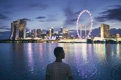 Singapur an der Dämmerung stockbild