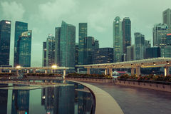 Singapur, Dezember 20,2013: Ansicht der Stadtskyline nachts herein Stockfotografie