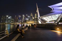 SINGAPUR, am 10. Dezember 2017: Skyline von Singapore's-Geschäftsgebiet Stockfoto