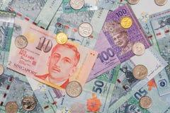 Singapur-Dollar auf Währung des malaysischen Ringgit auf backgro Stockbilder