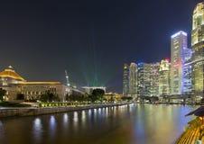 Singapur Nightline Łódkowatym Quay Obraz Royalty Free