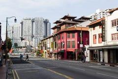 SINGAPUR, el 10 de diciembre de 2017: Distrito de la ciudad de China adentro en el centro de la ciudad Imágenes de archivo libres de regalías