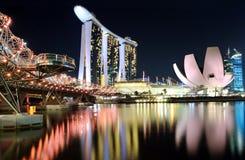Singapur en la noche Foto de archivo